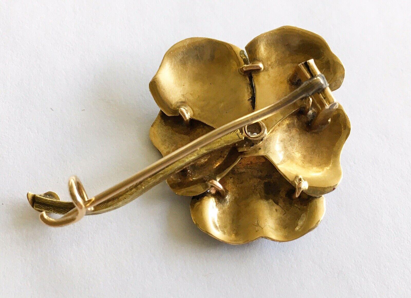 Antique Art Nouveau 14k Enamel Pansy  Pin With Di… - image 6