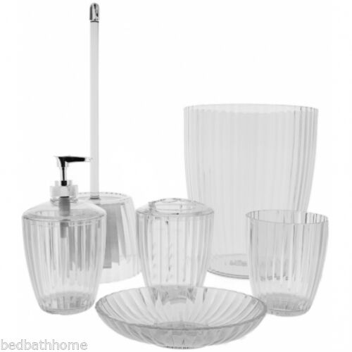 NEW Carnation Home Fashions Ribbed Acrylic Bath Accessories Clear