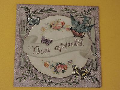5 Servietten Bon appetit SCHRIFT Besteck Rosen Schmettrerlinge Vogel 1//4 Muster