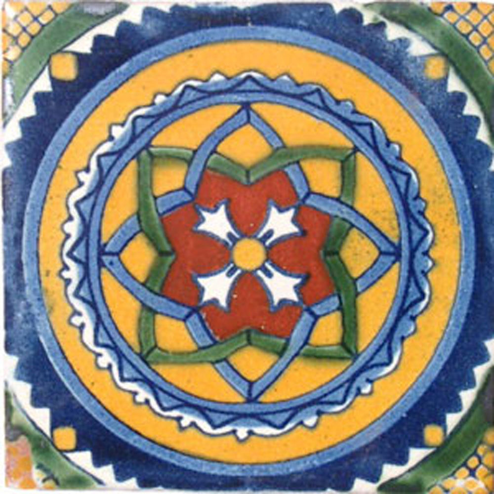 90 MEXICAN CERAMIC TILES WALL OR FLOOR USE CLAY TALAVERA MEXICO POTTERY  C041