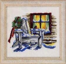 "Winter Cottage Window Cross Stitch Kit - Permin - 14 Count - 8.5"" x 8.5"""