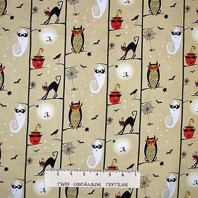 Halloween Fabric Studio E YARD Cheeky Wee Pumpkin Ghost Cat on Story Stripe
