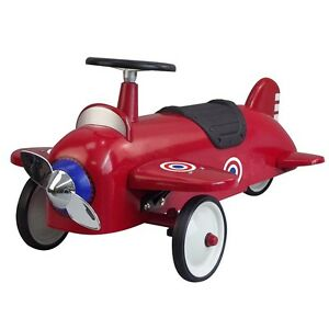 NEW-KIDS-VINTAGE-STYLE-RIDE-ON-AEROPLANE-CAR-METAL-TOY-CLASSIC-STEEL-RED-PLANE
