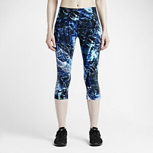 Nike Legend Engineered Marble Capri Medium M Black Gray Crops Pants Legging