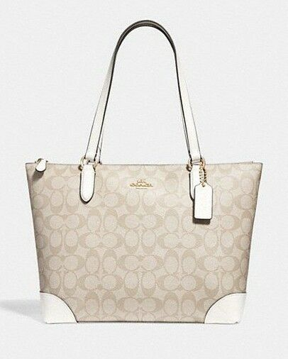 2cf398350098 Coach F29208 Zip Top Tote in Signature Canvas Light Khaki Canary for sale  online