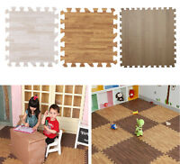 9pcs Imitation Wood Soft Foam Exercise Floor Mats Kids Childs Play Pad Home Hg