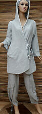 LAGENLOOK COTTON AMAZING QUIRKY 2 POCKETS HOODED CARDIGAN*LIGHT GREY*SIZE L-XL