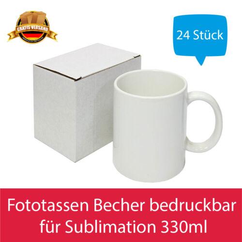 24x Kaffeetassen Fototassen Becher bedruckbar für Sublimation Geschenkkarton