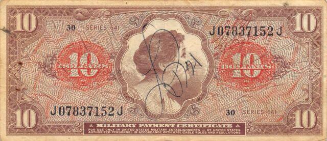 USA / MPC  $10  ND. 1965  M 63  Series 641  Run 30  Circulated Banknote