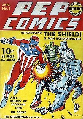 Pep Comics #20 Photocopy Comic Book The Shield The Hangman The Fireball