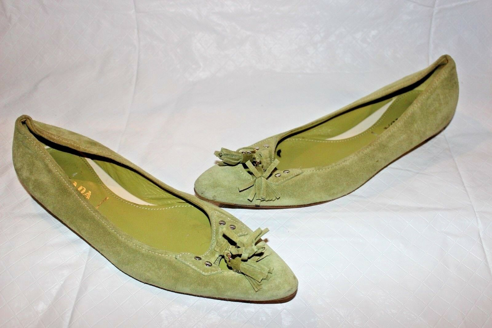 AUTH Green Prada Suede Pelle Tassel Pointed Pointed Pointed Toe Flats Sz 39.5  670 1610d5