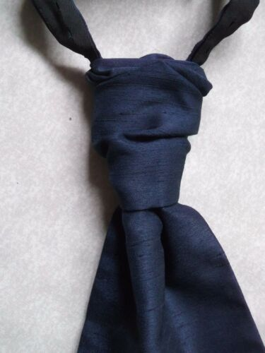 Boys Cravat WEDDING Tie FORMAL PARTY Ruched PRE TIED NAVY MIDNIGHT BLUE