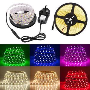 LED-Strip-12V-5050-SMD-IP65-Waterproof-tape-Lights-Rope-Warm-White-Blue-UK-plug