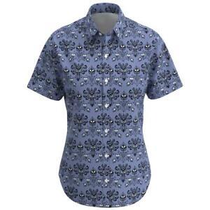 Details About Haunted Mansion Wallpaper Disney Women Short Sleeve Button Shirt Size Xs 3xl