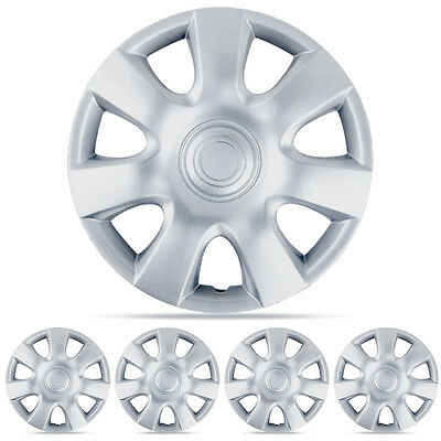 "New Set 15"" Silver 4pc Hubcaps Wheel Cover OEM Replacement Hub Caps Covers"