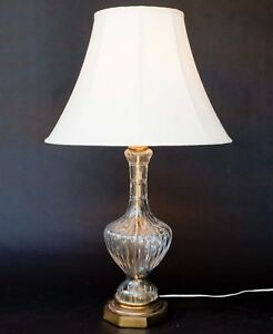 Large Vintage Cut Crystal Glass And Brass Table Lamp Ebay