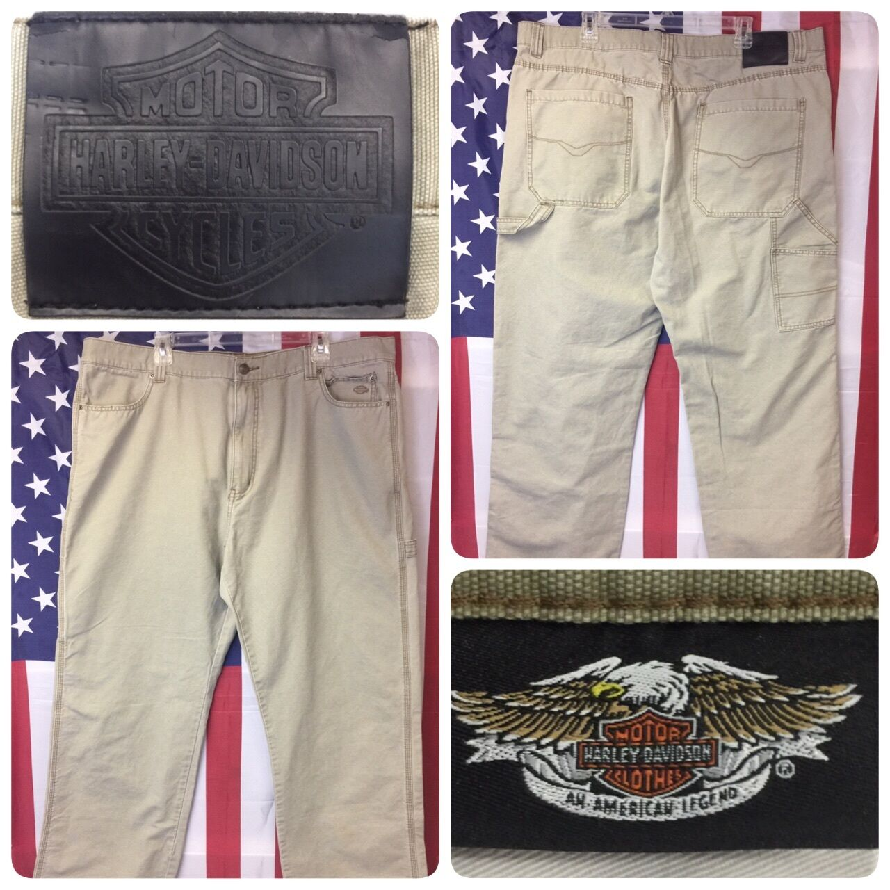 Harley-Davidson Men's Carpenter Pants BIG size 44x34 Khaki Canvas