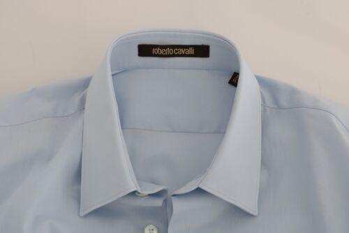NEW $260 ROBERTO CAVALLI Shirt Dress Light Blue Stretch Slim Fit IT40// US15.75//M