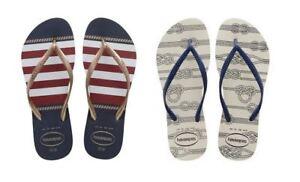 c61d39bd357 Image is loading Havaianas-Slim-Nautical-White-Blue-Flip-Flop-Women-