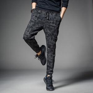 Men s Black Camo Straight Trousers Slim Fit Fashion Casual Harem ... 5ed56f0f976