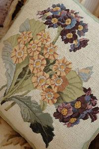 14-034-Whole-Petit-Point-Stitched-Purple-Yellow-Bouquet-Needlepoint-Pillow