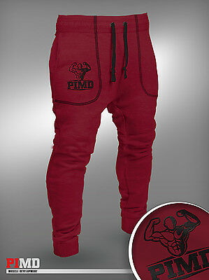 PIMD Deus Therma Tec Fitted Bottoms Burgundy Gym Joggers Fitness Jogging Mens