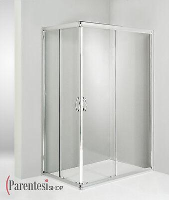 BOX DOCCIA CABINA BAGNO CRISTALLO TRASPARENTE 120X80 ANGOLARE 6MM