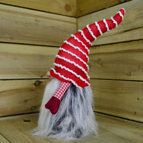 Stripey 40cm Red Christmas Themed Bearded Gonk With Pointy Hat