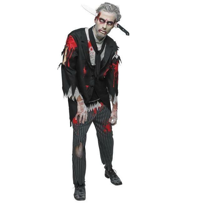 BLOODY BUTLER ADULT FANCY DRESS COSTUME MENS SCARY HALLOWEEN ZOMBIE PARTY OUTFIT