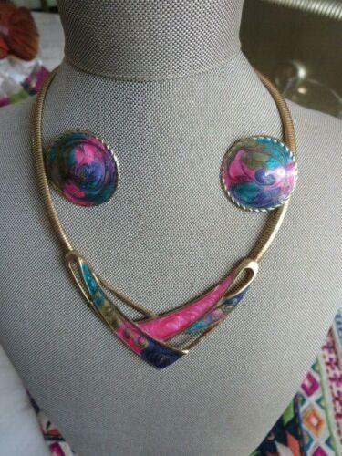 1980s  Modernist Enamel Collar Necklace & Earrings