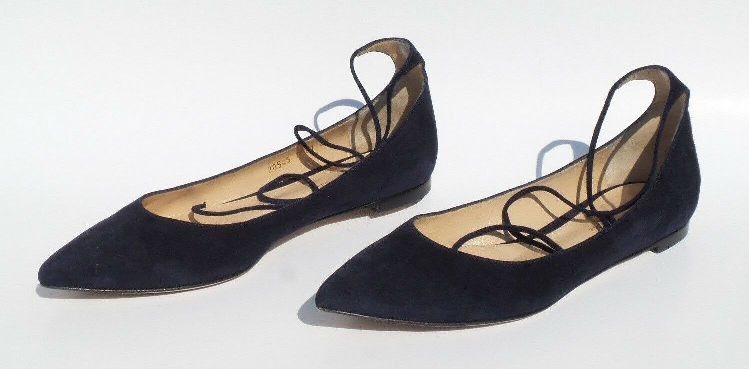 GIANVITO ROSSI Navy bluee bluee bluee Suede Pointed Toe Wrap Ankle Tie Strap Ballet Flats 38 08ee7e