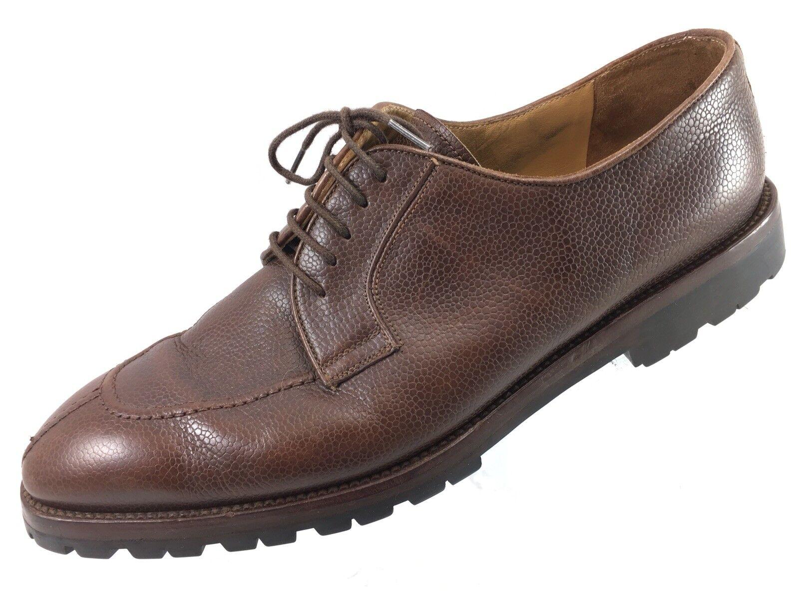 SH26 York Barneys New York SH26 Sz 12 Brown Pebbled Leather Split Toe Oxford Shoes Italy Scarpe classiche da uomo 8e38d8