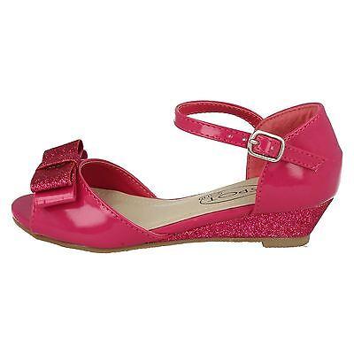 Las niñas en el clavo h1089 Fucsia Blanco Sintético Patente Peep Toe De Zapatos De Fiesta