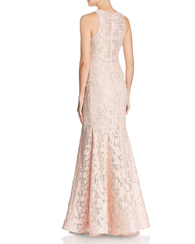 288 AQUA Lace Mermaid Gown bluesh Nude Pink Bridesmaid Prom Bloomingdales 6 M