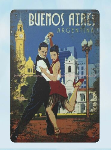 ARGENTINA BUENOS AIRES travel dancers metal tin sign wall decor