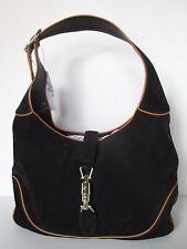 GUCCI HOBO  BLACK SUEDE / ORANGE LEATHER TRIM HANDBAG NEW W TAG MADE IN ITALY