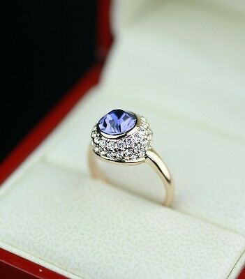 Edel Luxus Damen Ring Gold 750/18KRGP Lila Kristall Verlobungsring Geschenkidee!