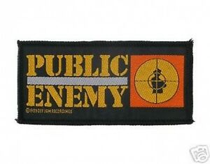 PUBLIC-ENEMY-oblong-logo-1989-rare-WOVEN-SEW-ON-PATCH-no-longer-made