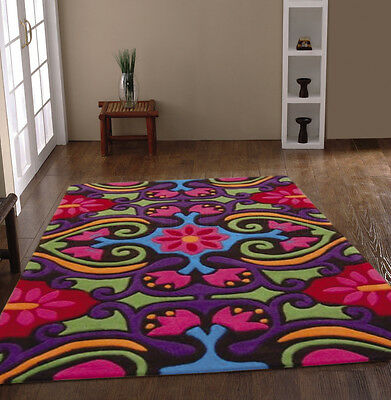 SMALL - EXTRA LARGE THICK MODERN MULTI-COLOURED SCROLL MULTI DESIGNER RUG
