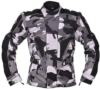 Camouflage Military Textile Motorcycle Armoured Jacket (Fabric Biker Army Grey