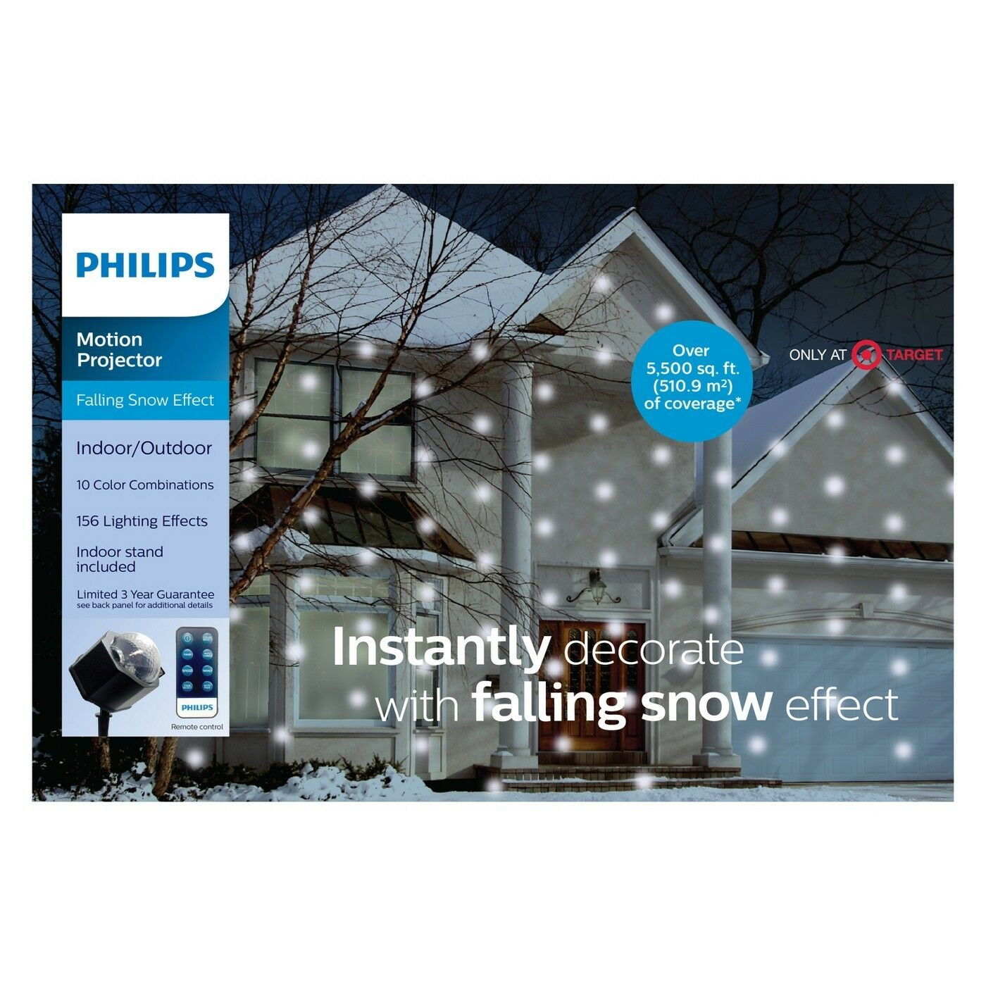Philips Christmas Multi-Colored//White Falling Snowflake Projector W// Remote~5599