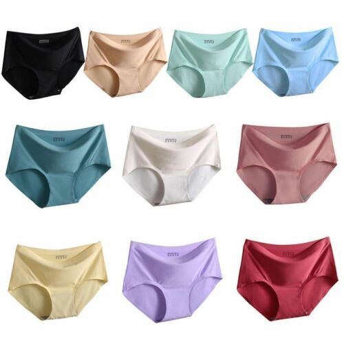 High Quality Women Seamless Panties Ice Silk Mid Waist Briefs Knickers Underwear