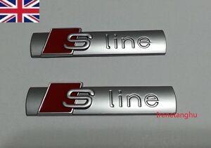 2-Pcs-Audi-S-Line-silver-chrome-Badge-Emblem-SLine-A-1-2-3-4-5-6-8-Q-RS-Grade-B