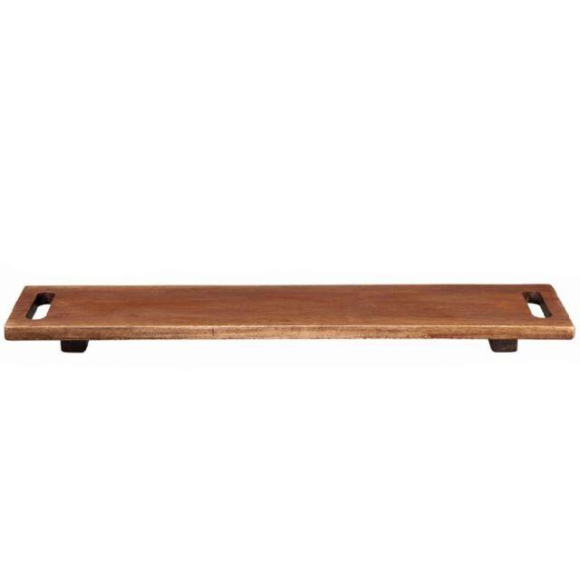 ASA Holzboard auf Füßen Servierplatte Holzplatte Holzservierplatte mit Henkel