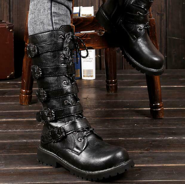 Men's Leather Military Motorcycle Riding Riveted Lace-up Mid-calf Boots Sz Hd214
