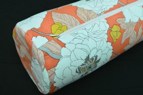 LF801g White Daisy Flower Cotton Canvas Neck Yoga Bolster Case Pillow Cover