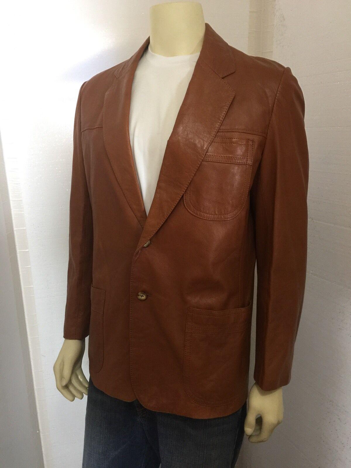 Vintage 1970's Mens Brown Hipster Soft Leather Bl… - image 1