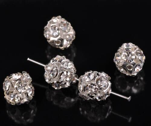 20pcs 6//8//10//12mm Crystal Rhinestones Pave Metal Round Hollow Out Ball Beads