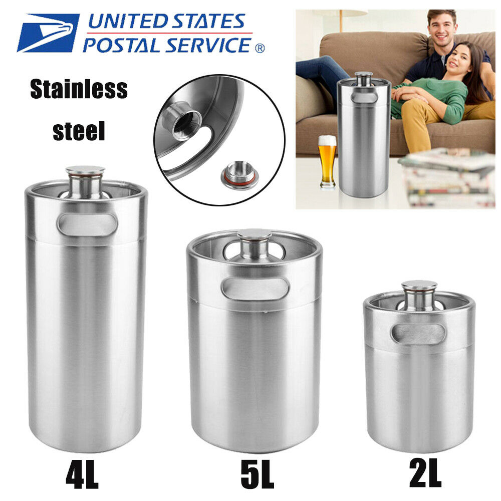 Stainless Steel Beer Keg Wine Brew Growler Bottle Pot Screw Cap Home brew 2/4/5L 2
