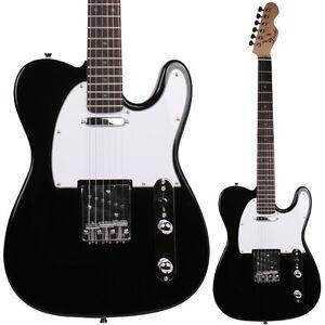 LINDO-Noir-Guitare-Electrique-Solid-Tilleul-Corps-erable-Cou-Housse